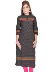 Shop Rajasthan 100% Pure Cotton Printed Kurti - Black - SRE2265