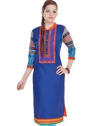Shop Rajasthan 100% Pure Cotton Printed Kurti - Blue - SRE2324