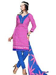 Silkbazar Printed Art Crepe Dress Material - Pink & Blue