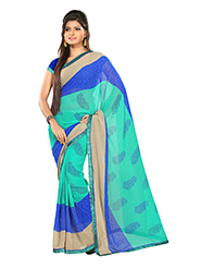 Silkbazar Printed Chiffon Saree - Sea Green & Blue