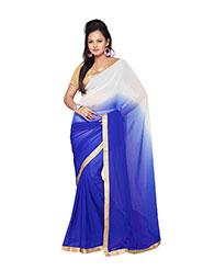 Silkbazar Plain Chiffon Saree - White & Blue