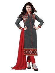 Thankar Semi Stitched  Chanderi Cotton Embroidery Dress Material Tas291-5309