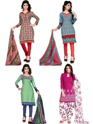 Combo Of 4 Thankar Printed Poly Cotton Unstitched Dress Material -thn02