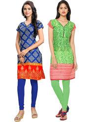 Combo of 2 Thankar Printed Cotton Stitched Designer Kurti -Tdk141-At16