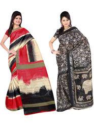 Pack of 2 Thankar Printed Bhagalpuri Saree -Tds137-181.182