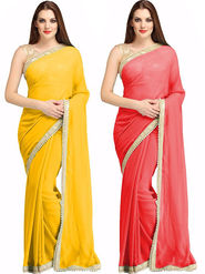 Pack of 2 Thankar Plain Georgette Saree -Tds138-5109.5105