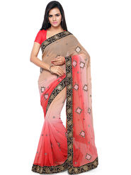 Nanda Silk Mills Embroidered Georgette Magenta Saree -am32