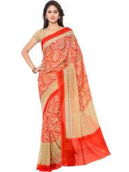 Triveni Printed Art Silk Red Saree -tsb04