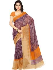 Triveni Printed Art Silk Purple Saree -tsb07