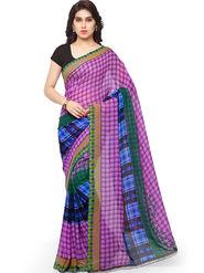 Triveni Printed Art Silk Purple Saree -tsb13