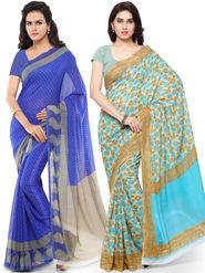 Combo of 2 Triveni Printed Art Silk Blue Sarees -Tsco113