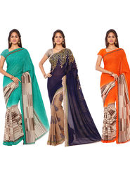 Combo of 3 Triveni Faux Georgette  Printed Saree -Tsco56