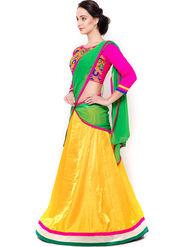 Triveni Lovely Yellow Art Silk Semi Stitched Lehenga Choli_Ts13255