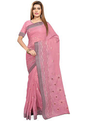 Triveni's Blended Cotton Embroidered Saree -TSMRCCPI4009