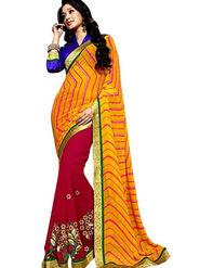 Triveni Sarees Faux Georgette Embroidered Saree - Magenta - TSN79012