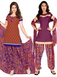 Triveni Sarees Beautiful Printed Polyseter Salwar Kameez With Dual Tops - TSDKTSK3003