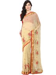 Triveni Chiffon Embroidered Saree - Beige - TSDS2005