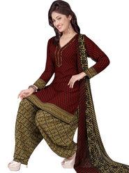Triveni Polyester Printed Dress Material - Maroon - TSLCSK5010