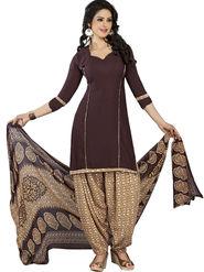 Triveni Polyester Printed Dress Material - Brown - TSLCSK5040