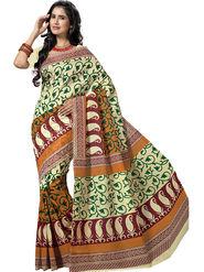 Triveni Blended Cotton Printed Saree - Beige - TSMRCCRD463