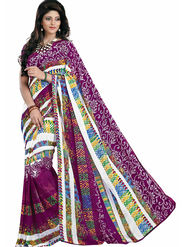 Triveni Faux Georgette Printed Saree - Multicolor - TSN28006A