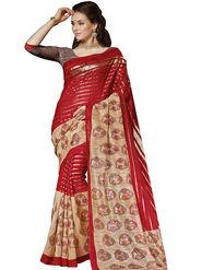 Triveni Bhagalpuri Silk Printed Saree - Maroon - TSVF13337