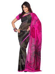 Triveni sarees Faux Georgette Printed Saree - Multicolor - TSBSL9282