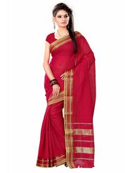 Triveni sarees Blended Cotton Printed Saree - Red - TSMRCC2052