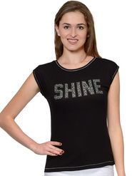 Unshackled Plain Viscose Black T-Shirt -dfv05
