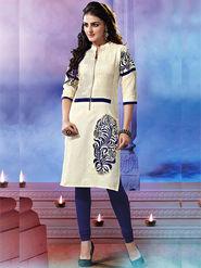 Viva N Diva Khadi Cotton Embroidered Kurti - Off White - 2023