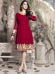 Viva N Diva 60 Gm Georgette Embroidered Kurti - Magenta - 1001