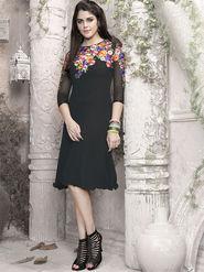 Viva N Diva 60 Gm Georgette Embroidered Kurti - Black - 1008