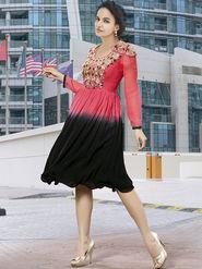 Viva N Diva Faux Georgette Embroidered Kurti - Pink - Nova-11004