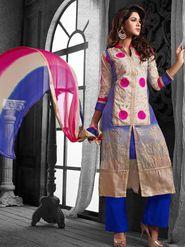 Viva N Diva Chanderi Cotton Embroidered Dress Material - Blue & Beige