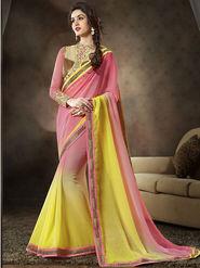 Nanda Silk Mills Pure Chiffon & Georgette Exclusive Latest Saree Ethnic Yellow Color Party Wear Saree_Vr-1904