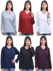 Pack of 6 Eprilla Spun Cotton Plain Full Sleeves Sweaters -eprl65