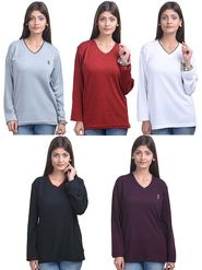 Pack of 5 Eprilla Spun Cotton Plain Full Sleeves Sweaters -eprl62