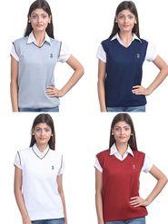 Pack of 4 Eprilla Spun Cotton Plain Sleeveless Sweaters -eprl27