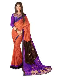 Khushali Fashion Embroidered Chiffon Half & Half Saree_KF75