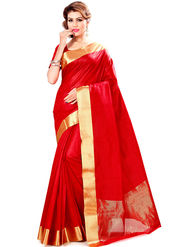 Zoom Fabrics Plain Cotton Silk Red Saree -Zm4018B