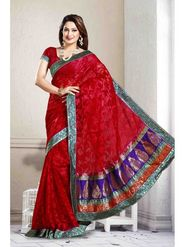 Zoom Fabrics Net Shiffli Embroidered Saree - Red