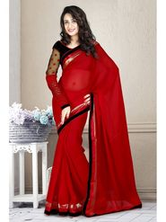 Zoom Fabrics Pure Gerogette Embroidered Saree - Red-2978