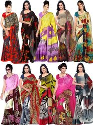 Combo of 10 Bhuwal Fashion Printed Faux Georgette Multicolor Sarees -bhl29