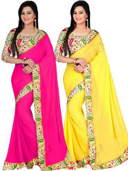 Combo of 2 Bhuwal Fashion Plain Georgette Designer Saree -bhl17