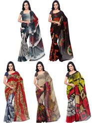 Combo of 5 Bhuwal Fashion Printed Faux Georgette Multicolor Sarees -bhl30