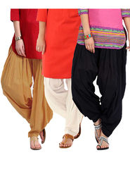 Combo of 3 Javuli Plain Pure Cotton Semi Patiala Salwar-ja30