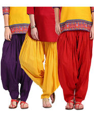 Combo of 3 Javuli Plain Pure Cotton Semi Patiala Salwar-ja54
