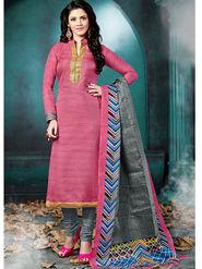 Viva N Diva Bhagalpuri  Printed Dress Material - Pink - Tulip-210