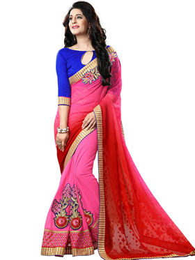Nanda Silk Mills Pink Georgette Embroidered Saree With Blouse Piece_Gitanjli-4406