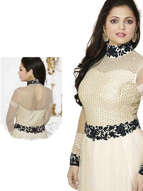 Adah Fashions Embroidered  Net Semi-Stitched Suit 100-72005